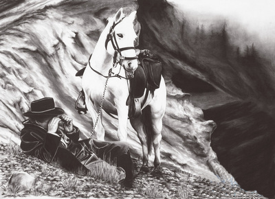 black and white charcoal painting of a cowboyand his white horse